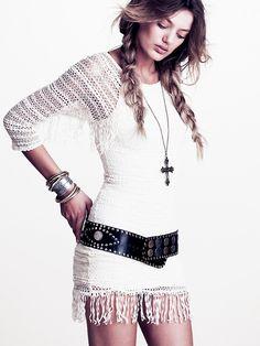 Nightcap Fringed Crochet Raglan Dress at Free People Clothing Boutique