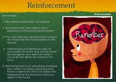 Reinforcement - Tips to Remember - Applied Behavior Analysis  - repinned by @PediaStaff – Please Visit ht.ly/63sNtfor all our ped therapy, school & special ed pins