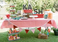 Sweet Table at a Vintage County Fair + Carnival 1st Birthday Party via Kara's Party Ideas | KarasPartyIdeas.com (27)
