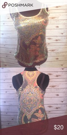 Sequined tank style top Stretchy, comfortable, lightweight top with racerback. Perfect with jeans and heels. Body Central Tops Tank Tops