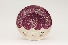 Ceramic serving bowl  purple serving bowl