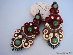 soutache big earrings with jade beads and Czech glass in colors brown and burgundy, earrings, soutache jewelry, jewelry party