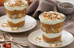"Gluten Free Chia Pumpkin Parfait | These gluten free chia and pumpkin parfaits below can be made ahead of time for a quick and tasty snack or breakfast. The ""superfood"" chia seeds will keep you full longer, while the granola offers a satisfying crunch along with added protein and fibre."