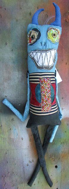 Blue Gremlin handmade monster art doll by monstermaud on Etsy
