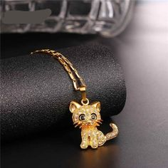 Rhinestone Cute Cat Necklace Trendy Gold Color Link Chain For Women Collares Lucky Pet Pendant Bijoux Wholesale Ruby Necklace, Ruby Jewelry, Cat Jewelry, Necklace Types, Animal Jewelry, Pendant Necklace, Jewelry Ideas, Jewlery, Unique Jewelry