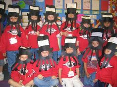 "These are our Abraham Lincoln hats. The writing says:  Abraham Lincoln lived in a _____ cabin.  Kids write in the word"" log"".  Loved ____ read.  Kids wrote in the word ""to"". Was _____    ______  president. Kids filled in the words ""the"" and ""16th""."