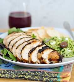 Grilled beer-brined chicken breasts