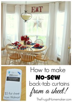 No-sew, inexpensive, long curtains made from SHEETS!  June 25, 2014 by Christina Leave a Comment  Some of you may have known right off w...
