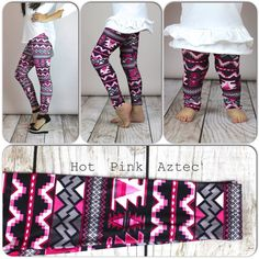 Hot Pink Aztec Print Leggings, Adult legging, girls leggings, toddler legging, baby legging, aztec legging on Etsy, $9.99