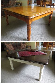 coffee table makeover chalkpaint and wax on legs gelstain for the top