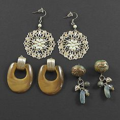 3 Pair of Pierced Earrings Goldtone Light Green Filigree Amber Multi Colored