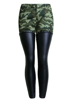 Camouflage Print Spliced Leather Rivets Skinny Jeans_Leather Jeans_Women Jeans_Sexy Lingeire   Cheap Plus Size Lingerie At Wholesale Price   Feelovely.com