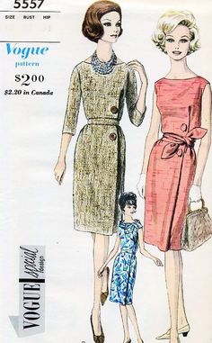 Early 60s STYLISH Slim Dress Pattern VOGUE SPECIAL DESIGN 5557 Elegant Day or After 5 Dress Bust 34 or 36 Vintage Sewing Pattern UNCUT