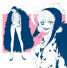 Genderbend swap switch female fem Donquixote Rocinante (Corazon), (Corasan, Cora-san) One piece art pink