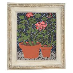 View this item and discover similar for sale at - A vintage acrylic on canvas paint by noted artist Mary Beth Edelson. The piece is titled 'Geraniums at Night' and depicts brightly colored potted flowers Black And Blue Background, East Chicago, Flower Pots, Flowers, Feminist Art, Geraniums, Blue Backgrounds, Mary, Wall Decor