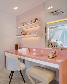 Most Popular Study Table Designs and Children's Chairs Today Cute Bedroom Ideas, Cute Room Decor, Girl Bedroom Designs, Study Table Designs, Aesthetic Rooms, Home Office Decor, Home Decor, Dream Rooms, Girl Room