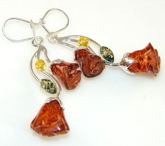 Women's Fashion Jewelry Baltic Amber Sterling Silver earrings - 8.30g of pure 925 Sterling Silver with Amber 2 1/2, 1/2,1/4 inch - entirely handmade by the most gifted artisans
