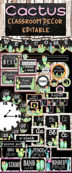 Cactus Classroom Decor Growing Bundle features cacti and succulents with chalkboard and shiplap accents for a shabby chic themed classroom! This set will include alphabet posters in print and cursive, phonics posters, calendar set, word wall cards, pennant banners, binder covers and spines, classroom rule posters, table number posters and tags, and many sets of labels. Many of these resources will be editable to customize to your specific needs!
