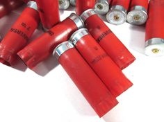 Bright RED Shotgun Shells Used Shotgun Hull Twenty Four (24) Plastic Case Shotgun Shells Art Jewelry Supplies Ammo BULLETS Empty Rounds (A56 by punksrus on Etsy