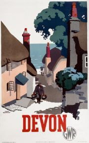 This Poster was produced in 1939 by Great Western Railway GWR to help promote rail travel to Devon Artist Frank Newbould has painted quaint seaside Posters Uk, Train Posters, Railway Posters, Illustrations Vintage, Illustrations And Posters, Old Man Walking, National Railway Museum, Retro Poster, Kunst Poster