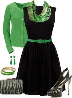 lovely dress and cardigan, green!!