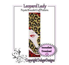 Bead Pattern Peyote(Bracelet Cuff)-Leopard Lady  by FUNPATTERNDESIGNS on Etsy https://www.etsy.com/listing/159527959/bead-pattern-peyotebracelet-cuff-leopard