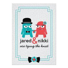 Coloré, amusement, et faire-part de mariage unique comportant deux monstre-aliens dans l'amour. Une partie d'une suite complète de conception.
