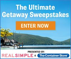 I just entered for a chance to win the Real Simple Ultimate Getaway Sweepstakes. Check it out and enter!