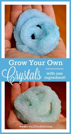 Grow your own crystals overnight with only one ingredient! This is a fun project to do with the kids. We used is in our homeschool classroom to teach science. I go over the science behind this in the post as well! realfoodrn.com #homeschoolscience #diycrystals