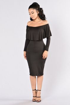 - Available in Black and Brown - Off the Shoulder - Ruffle Detail - 3/4 Sleeves - Midi Length - Made in USA - 95% Rayon, 5% Spandex