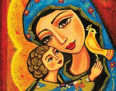 Madonna and Child Blessed Mother Virgin Mary and by EvitaWorks
