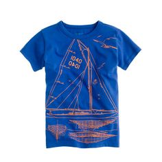 """J. Crew Boys' sailboat tee: """"Put the wind in his sails with this seafaring tee made from supersoft cotton jersey. We love its classic but cool blueprint design hand-drawn by our very own in-house illustrator."""""""