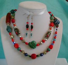 DISCOUNT BOGO.Turquoise Red Howlite Jade Silver. by MyGrandmasHome, $21.99