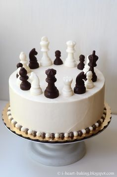 chess cake with handmade chocolate chess pieces