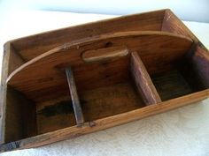 Antique Wood Caddy Handmade Vintage Tool Utensil Holder Carrier