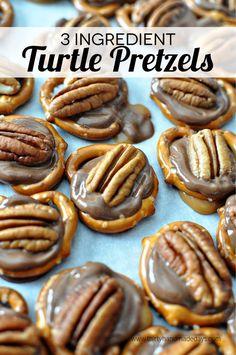 3 Ingredient Turtle Pretzels: INGREDIENTS: 1-10 Oz. Bag Mini Pretzels*1-8 Oz. Pkg Unwrapped Rolos*1 Small Pkg Pecan Halves* DIRECTIONS: Preheat The Oven To 350. Line Baking Sheet With Parchment Paper. Lay Pretzels On The Parchment Paper. Place A Rolo On Each Pretzel. Bake 3-5 Mins (To Soften Rolos, NOT Melt Them). Take Out Of Oven & Add 1 Pecan Half Per Pretzel. Let Cool Completely…NOTE: No Link