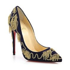 Chain-Emebllished Suede Pumps
