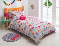 The Cupcake quilt and scatter cushion set is one the designs in the new 'Esk' manchester range created exclusively for Fantastic Furniture by KAS Australia. Single $49, double $59. Value Furniture, Bedroom Furniture, Ashley Bedroom, Cupcakes, Quilt Cover Sets, Scatter Cushions, Girls Bedroom, Manchester, Comforters