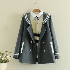 Storyland - Sailor-Collar Buttoned Coat | Japaneses Fashion