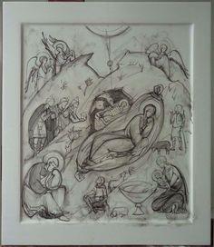 Рождество Byzantine Art, Art Icon, Painting Process, Mosaic Art, Fresco, Icon Design, Creations, Sketches, Carving