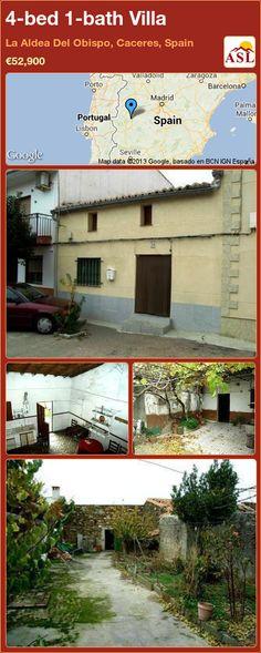 4-bed 1-bath Villa in La Aldea Del Obispo, Caceres, Spain ►€52,900 #PropertyForSaleInSpain
