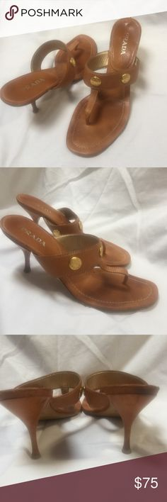 Prada Brown Leather Sandals Great opportunity to own a pair of Prada sandals at a fraction of the price. These brown kitten heel sandals have gold medallions and are a size 39 euro. The soles still have lots and lots of miles left in them! I try very hard to show the condition in my pictures. Please let me know if you need more info or additional pictures. Prada Shoes Sandals