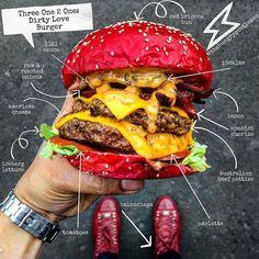 The Dirty Love Red Bun Bacon & Chorizo Cheese Burger at Three One 2 One - Insane! Red Burger, Crazy Burger, Big Burgers, Burger Menu, Burger Dogs, Gourmet Burgers, Burger Bar, Burger Recipes, Cheese Burger