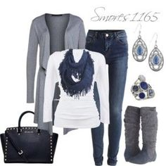 Blues and greys, white/silver accents (minus the black): From Polyvore