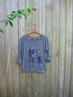 wild and free Mountain Shirt, Hiking Shirt, Camping Pullover, Yoga Top, S,M,L,XL on Etsy, $36.00