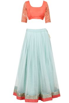 Prathyusha Garimella presents Light blue scattered sequin lehenga with coral blouse available only at Pernia's Pop-Up Shop. Indian Dress Up, Indian Attire, Indian Wear, Indian Outfits, India Fashion, Asian Fashion, Simple Lehenga, Coral Blouse, Modern Saree