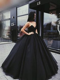 Black Sweetheart Ball Gown, Sexy Lace Up Floor Length Prom Dress, Charming Prom Dress, VB0237