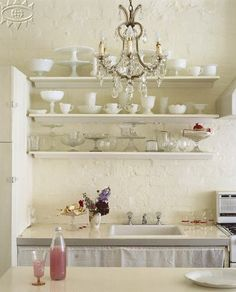 shelves with milk glass