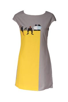 What a fun dress. Yellow and grey is such a flattering combination! #sephoracolorwash