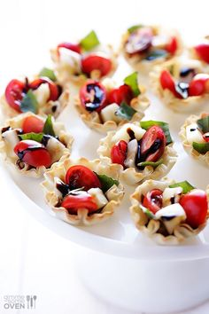 Caprese Phyllo Cups | gimmesomeoven.com Colors make it Christmas-y, but would be lovely for spring or summer as a light bite                                                                                                                                                                                 More